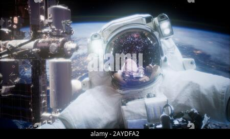 Astronaut at spacewalk. Elements of this image furnished by NASA