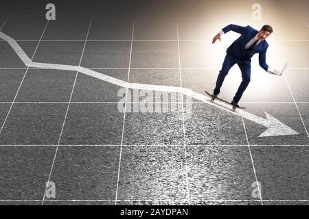 Businessman riding skateboard on financial graph - Stock Photo