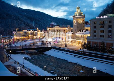 Sochi, Russia. 14th Feb, 2020. SOCHI, RUSSIA - FEBRUARY 14, 2020: A view of the Rosa Khutor ski resort in Krasnaya Polyana. Dmitry Feoktistov/TASS Credit: ITAR-TASS News Agency/Alamy Live News - Stock Photo