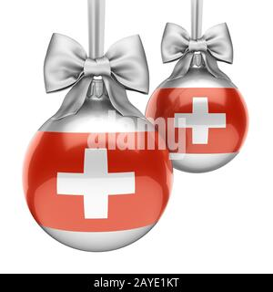 3D rendering Christmas ball with the flag of Switzerland - Stock Photo