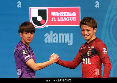Tokyo, Japan. 14th Feb, 2020. (L-R) Taishi Matsumoto (Sanfrecce), Ayase Ueda (Antlers) Football/Soccer : 2020 J.LEAGUE Kickoff Conference in Tokyo, Japan . Credit: AFLO SPORT/Alamy Live News - Stock Photo