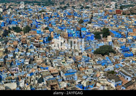aerial view of Blue City Jodhpur, Rajasthan, India - Stock Photo