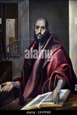 Saint Paul 1585 El Greco (Domenikos Theotokópoulos) 1541- 1614, 17th, century, Spain, Spanish, Greek, Greece. - Stock Photo