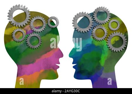 Two watercolor painted heads facing each other with metal gears isolated on white background. Think and communication concept. Digital generated illus - Stock Photo