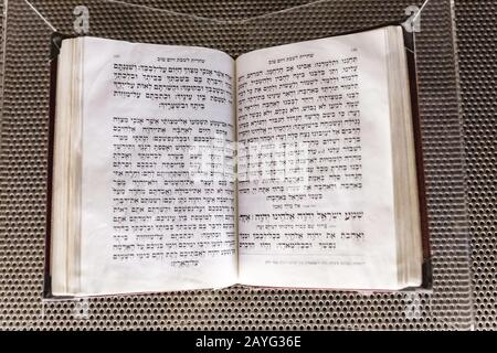 28 JULY 2018, BARCELONA, SPAIN: ancient hebrew religious book in museum - Stock Photo