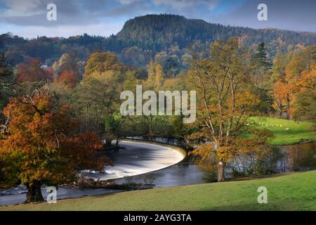 Horseshoe Falls, on the River Dee near Llangollen in North Wales - Stock Photo