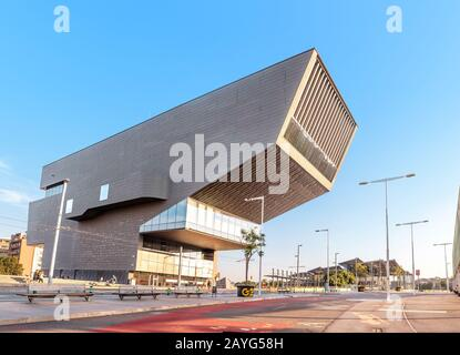 29 JULY 2018, BARCELONA, SPAIN: The Disseny museum and Torre Agbar, futuristic architecture in Barcelona - Stock Photo