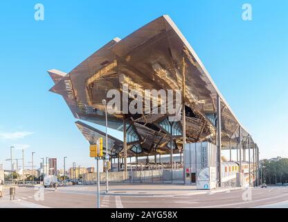 29 JULY 2018, BARCELONA, SPAIN: New Flea market building in Barcelona - Stock Photo