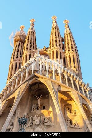 29 JULY 2018, BARCELONA, SPAIN: View of the Sagrada Familia architecture from city street - Stock Photo