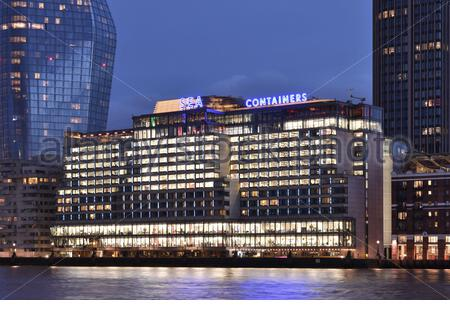 Sea Containers House - modern building exterior at dusk, located on the south bank of river Thames in Southwark London UK. - Stock Photo