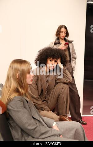 London, UK. 14th Feb, 2020. Models attend the Eftychia Aviopolis AW20 collection at London Fashion Week in London. Credit: Pietro Recchia/SOPA Images/ZUMA Wire/Alamy Live News - Stock Photo