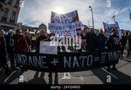 Munich, Bavaria, Germany. 15th Feb, 2020. Protests against the Munich Security Conference 2020 edition where some 5,000 demonstrators assembled under different banners against the MSC and NATO. Credit: Sachelle Babbar/ZUMA Wire/Alamy Live News - Stock Photo