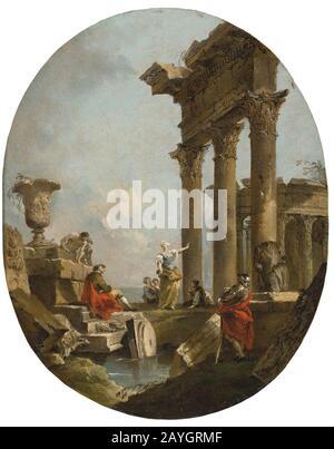 Francesco Lazzaro Guardi (1712 –1793) Figures amongst ruins. - Stock Photo