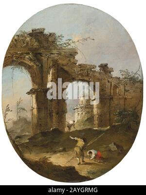 Francesco Lazzaro Guardi (1712 –1793) An architectural Capriccio with figures by a ruined arch. - Stock Photo