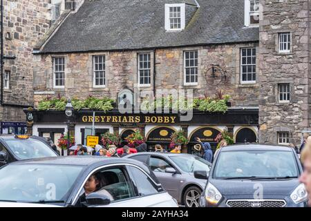 Edinburgh, Scotland, August 18th 2019.GREYFRIARS BOBBYS BAR.Greyfriars Bobby was a Skye Terrier who guarding the grave of his owner for 14 years - Stock Photo