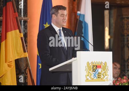 Munich, Germany. 15th Feb, 2020. Markus Söder (CSU), Prime Minister of Bavaria, speaks at the traditional dinner for the participants of the Munich Security Conference in the Kaisersaal of the Munich Residence. Credit: Felix Hörhager/dpa/Alamy Live News - Stock Photo