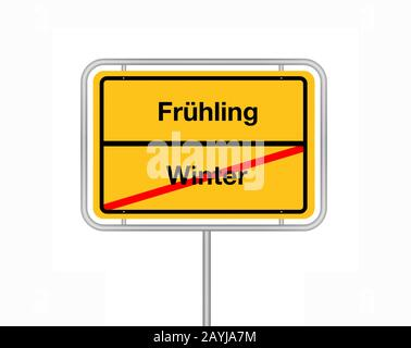 city limit sign lettering Winter - Fruehling, winter - spring, Germany - Stock Photo