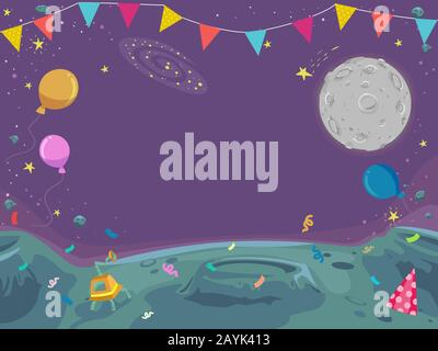 Background Illustration of Outer Space with Balloons, Confetti and Bunting - Stock Photo