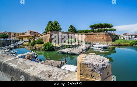 Fortezza Nuova, the New Fortress, a 16th century defensive system in the Livorno district of Nuova Venezia, Tuscany, Italy - Stock Photo