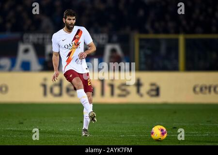 Bergamo, Italy - 15 February, 2020: Federico Fazio of AS Roma in action during the Serie A football match between Atalanta BC and AS Roma. Atalanta BC won 2-1 over AS Roma. Credit: Nicolò Campo/Alamy Live News - Stock Photo
