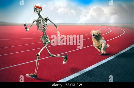 A funny art of a sporty looking skeleton running in a race track while a dog behind is chasing him.