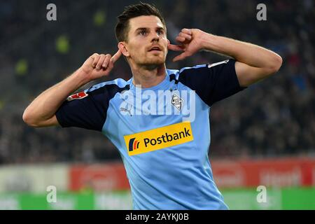 Dusseldorf, Germany. 15th Feb, 2020. Jonas Hofmann of Monchengladbach celebrates after scoring during a German Bundesliga match between Borussia Monchengladbach and Fortuna Dusseldorf in Dusseldorf, Germany, Feb. 15, 2020. Credit: Ulrich Hufnagel/Xinhua/Alamy Live News - Stock Photo