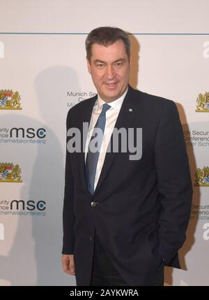 Munich, Germany. 15th Feb, 2020. Markus Söder, Prime Minister of Bavaria, will attend the traditional dinner for the participants of the Munich Security Conference in the Kaisersaal of the Munich Residence. Credit: Felix Hörhager/dpa/Alamy Live News - Stock Photo