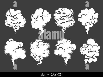 Eight White Clouds of smoke or steam on black background drawn in cartoon style. Vector illustration. - Stock Photo