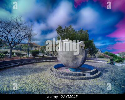 Monumento da Biosfera homage to the environment in Santana, Madeira, Portugal, European Union - Stock Photo