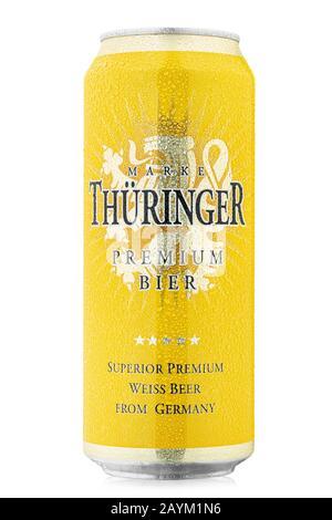 Ukraine, Kiev - February 05. 2020:  Aluminium can of  Thuringer Premium Weissbier beer on white background. Producer: Brauerei Gotha Brewery, Germany. - Stock Photo