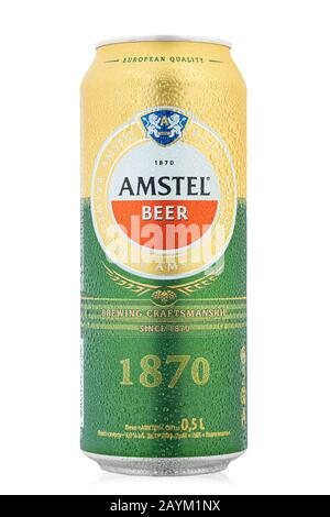 Ukraine, Kiev - February 05. 2020:  Aluminium can of  Amstel beer on white background. Is an internationally known brand of beer produced by Heineken - Stock Photo