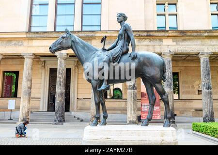 17 MAY 2018, BERLIN, GERMANY: The bronze sculpture of Amazon woman on horse in the Museum Island - Stock Photo