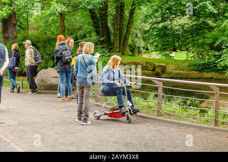 18 MAY 2018, BERLIN, GERMANY: People watching animals in the Zoo, family leisure concept