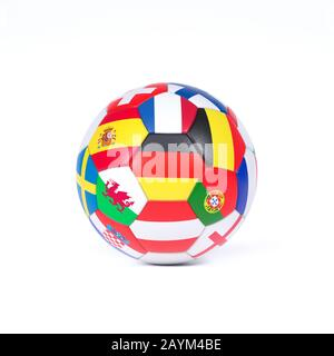 Colorful football or soccer ball on white decorated with the national flags of the countries competing in the championships or World Cup