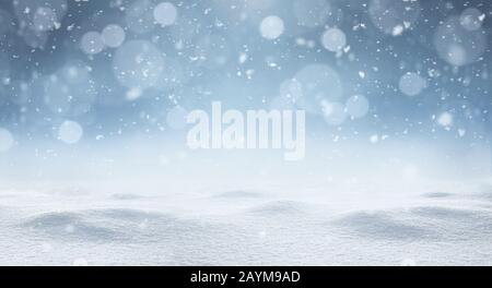 Empty panoramic winter background with copy space - Stock Photo