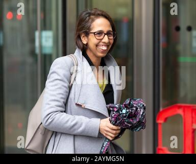 London, UK. 16th Feb, 2020. Munira Wilson, newly selected Liberal Democrat candidate for Twickenham, leaves the BBC Studios in Central London. She was selected following Vince Cable's decision to stand down. Credit: Tommy London/Alamy Live News - Stock Photo