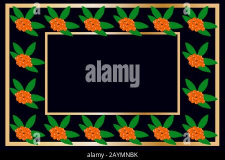 Gold frame rowan tea, wine or alcohol label package. Fruit tag for food products, juice, jam, ice cream, smoothies, yogurt, soap, cosmetics. Vector - Stock Photo