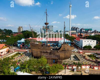 Aerial view of  Flor de la Mar a replica of a Portuguese ship at the Maritime Museum in Malacca (Melaka), Malaysia. - Stock Photo