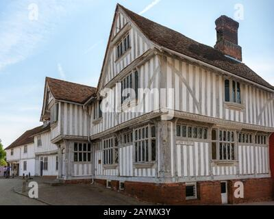 The Guildhall of Corpus Christi, a timber framed building which now houses a local history museum,  Lavenham, Suffolk, England, UK - Stock Photo