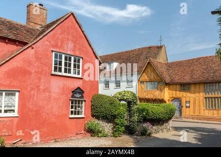 The Market Keepers Cottage and Historic buildings in the picturesque town of Lavenham in Suffolk, England, Uk - Stock Photo