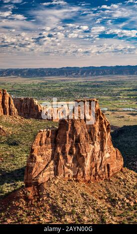 Independence Monument rock formation, Colorado National Monument, Colorado, USA - Stock Photo