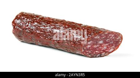 Salami smoked sausage stick isolated on white background - Stock Photo