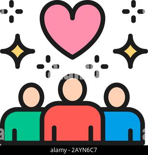 Vector people with big heart shape, donations, volunteering flat color line icon. Symbol and sign illustration design. Isolated on white background - Stock Photo