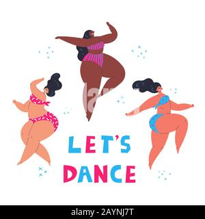 Happy plus size women dancing together.Lets dance - Stock Photo