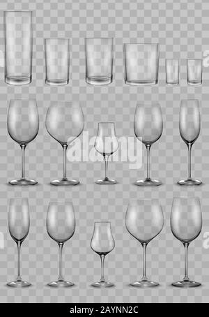 Set of empty glass glasses and wine glasses - Stock Photo