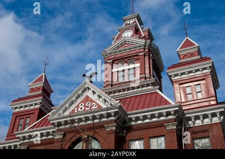 Detail of the architecture of old City Hall, now the Whatcom Museum of History and Art in Bellingham in Whatcam County, Washington State, USA. - Stock Photo