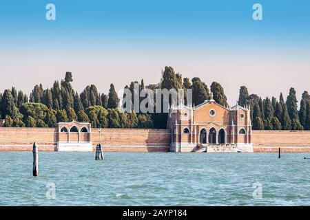 Old cemetery on island in Venice is a famous tourist landmark and destination - Stock Photo