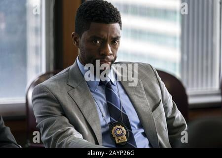21 Bridges is a 2019 American action thriller film directed by Brian Kirk. The film stars Chadwick Boseman as an NYPD detective who shuts down the eponymous 21 bridges of Manhattan to find two suspected cop killers (Stephan James and Taylor Kitsch). Sienna Miller, Keith David, and J. K. Simmons appear in supporting roles   This photograph is for editorial use only and is the copyright of the film company and/or the photographer assigned by the film or production company and can only be reproduced by publications in conjunction with the promotion of the above Film. A Mandatory Credit to the fil