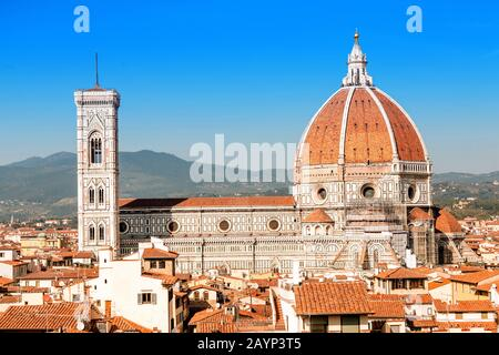 Aerial view of Duomo Cathedral main tourist landmark in Florence, Italy Stock Photo