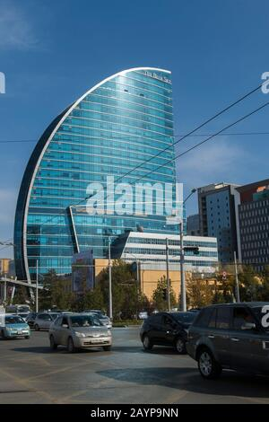 The Blue Sky Hotel and Tower in downtown Ulaanbaatar, Mongolia. - Stock Photo